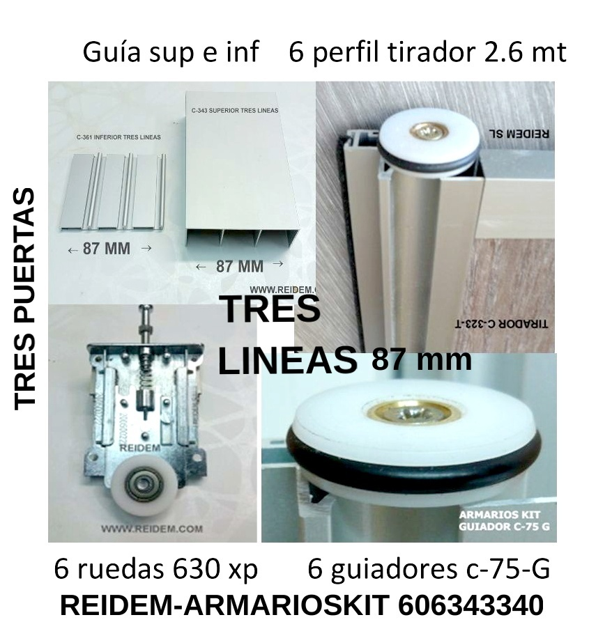 COMPARA KIT HERRAJES ESPECIALES TRES LINEAS 90 mm
